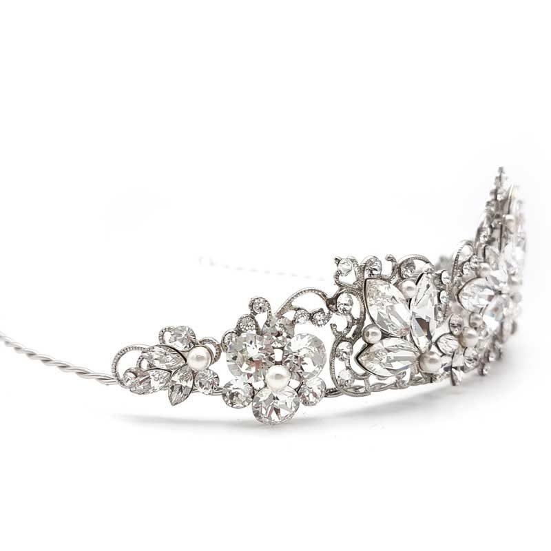 swarovski crystal and pearl bridal crown