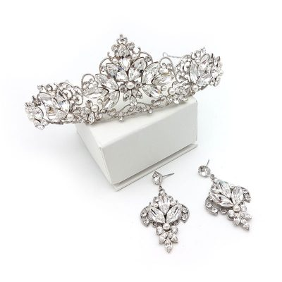 swarovski pearl and crystal bridal crown and earring set