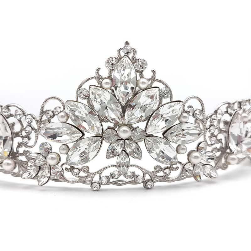 Swarovski crystal and pearl crown