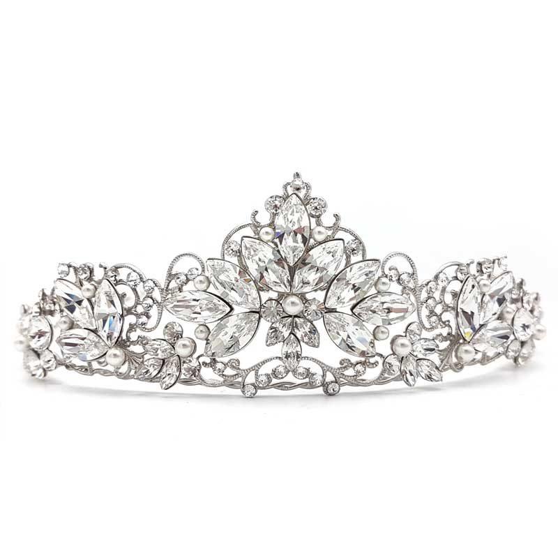 crystal and pearl bridal crown