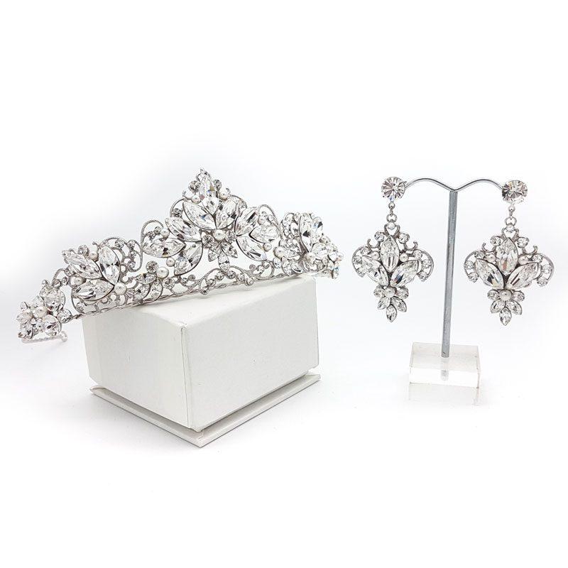 pearl tiara and earring set