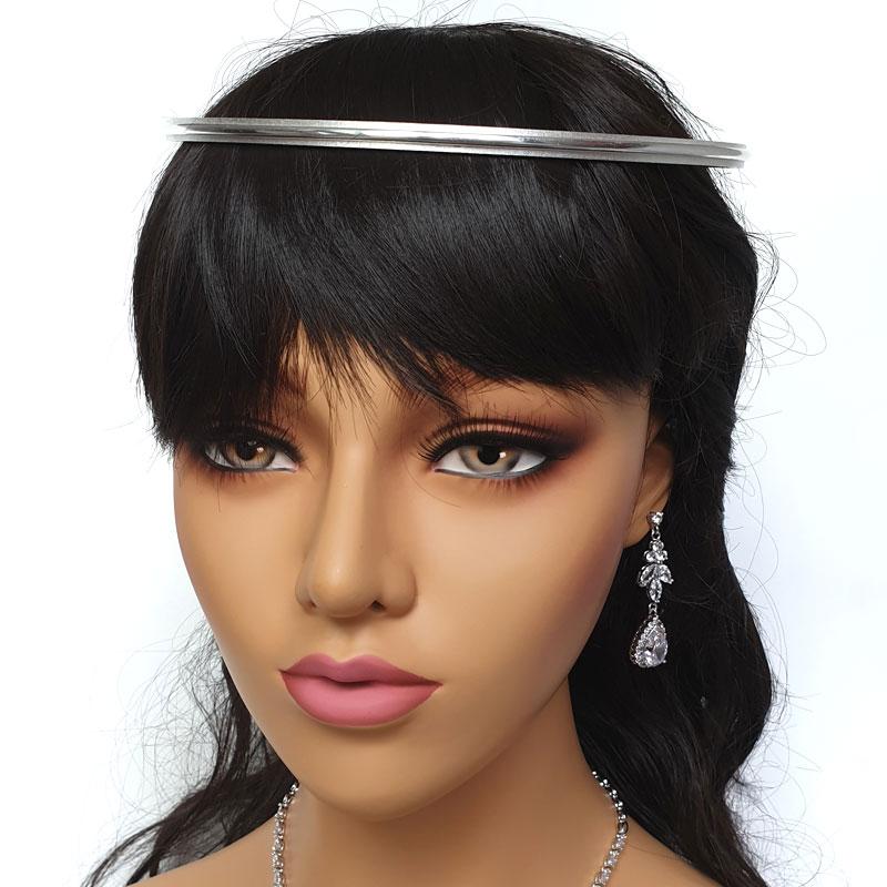 Silver modern wedding stefana crowns