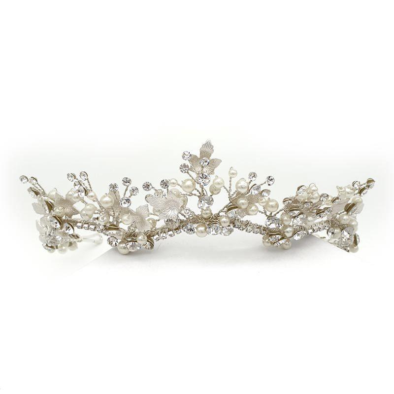 Silver pearl bridal tiara