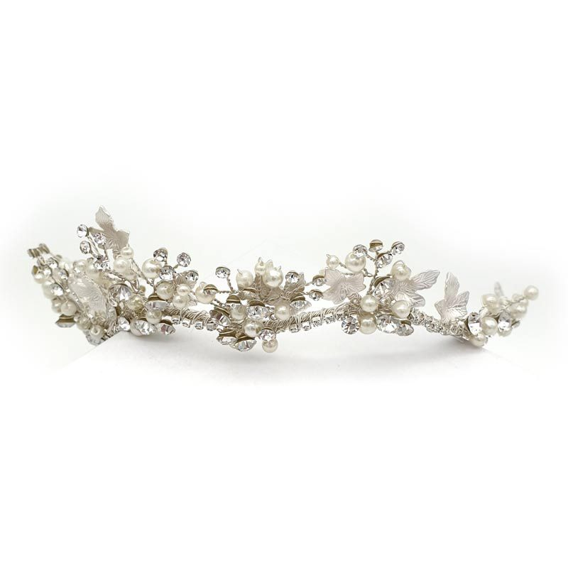 Silver pearl and crystal bridal crown