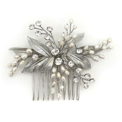 silver pearl leaf hair comb