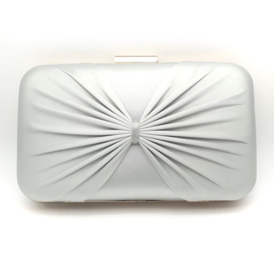 Silver satin evening clutch
