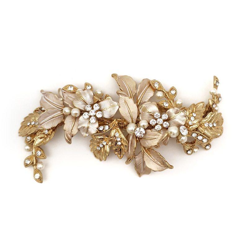 gold floral hair clip