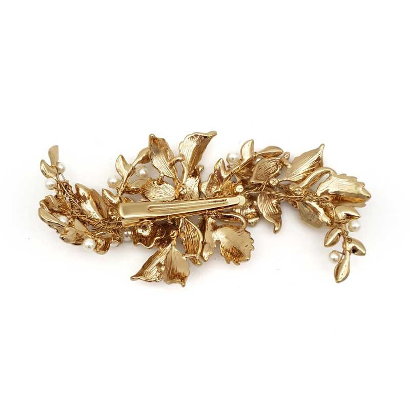 gold floral bridal hair clip