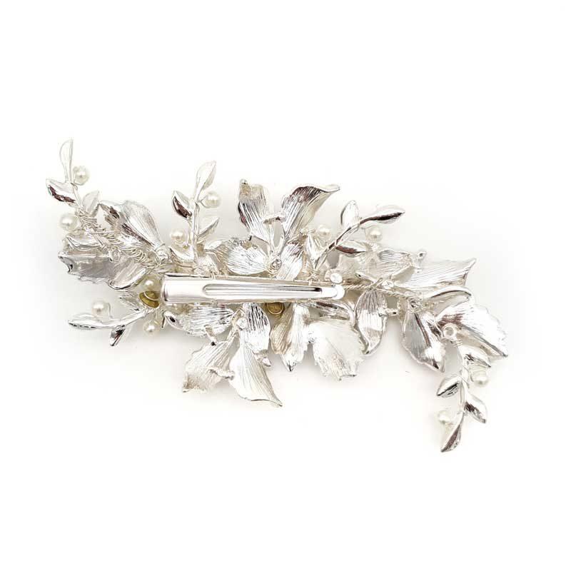 silver floral hair clip
