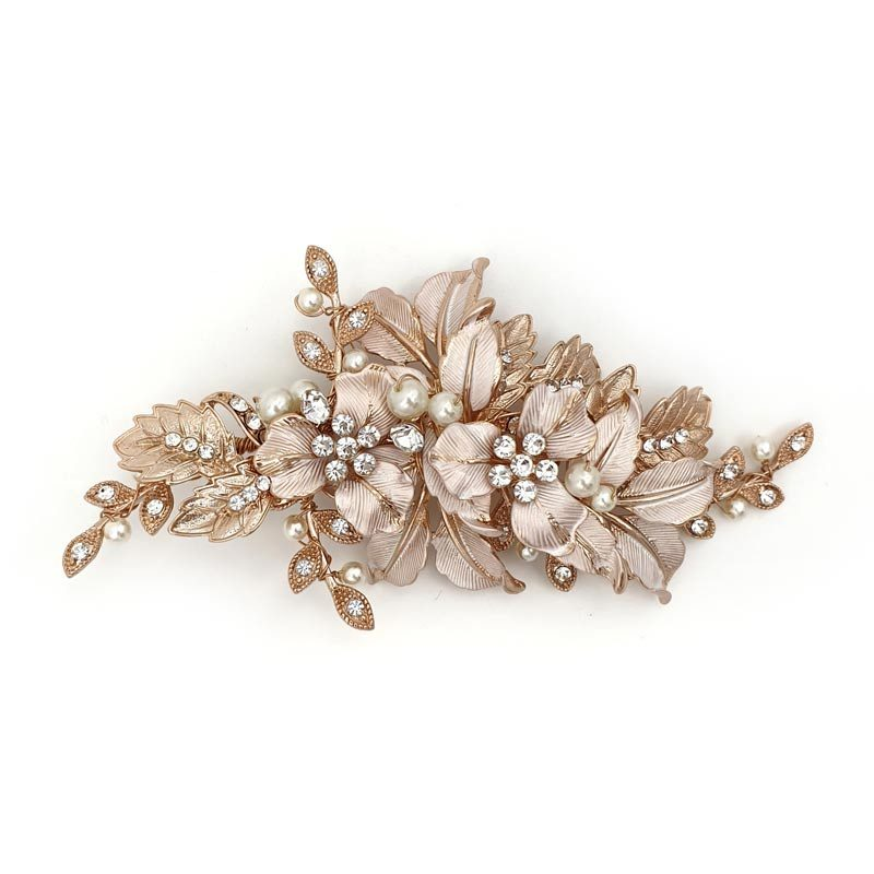 Rose gold floral bridal hair clip