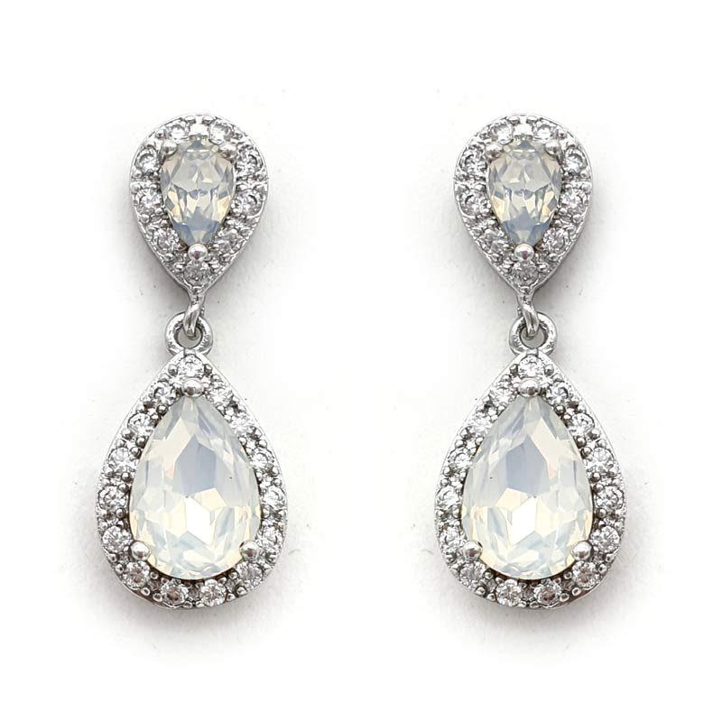 white opal crystal drop earrings