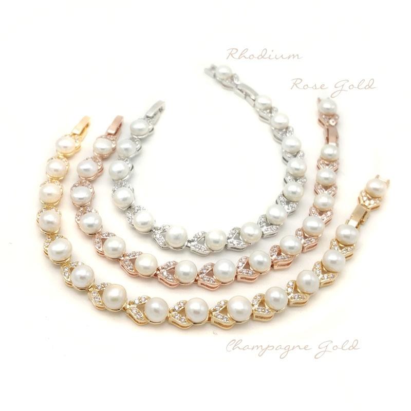 pearl and cz bridal bracelets