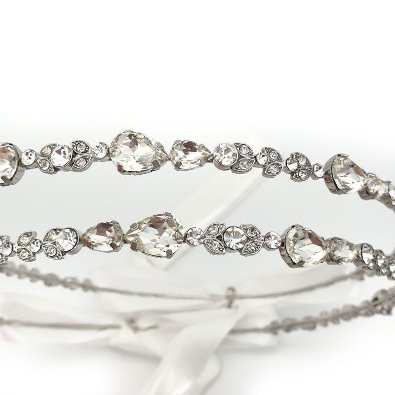 Silver crystal Greek wedding crowns
