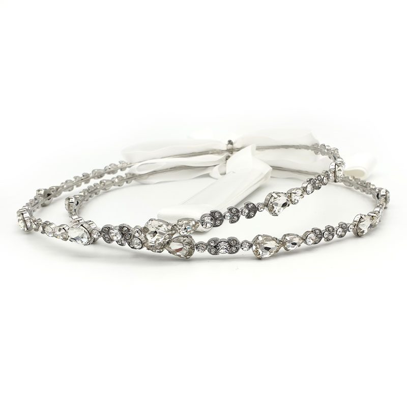 Silver clear crystal stefana crowns