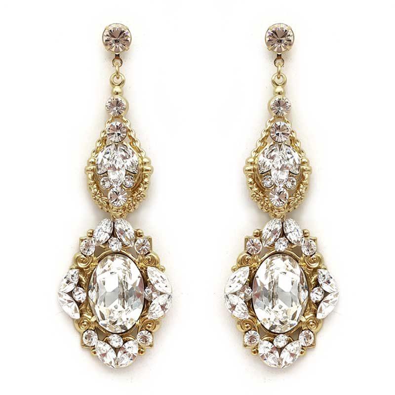 gold swarovski crystal statement bridal earrings