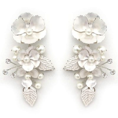 Silver floral pearl earrings