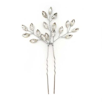 silver crystal hair pins