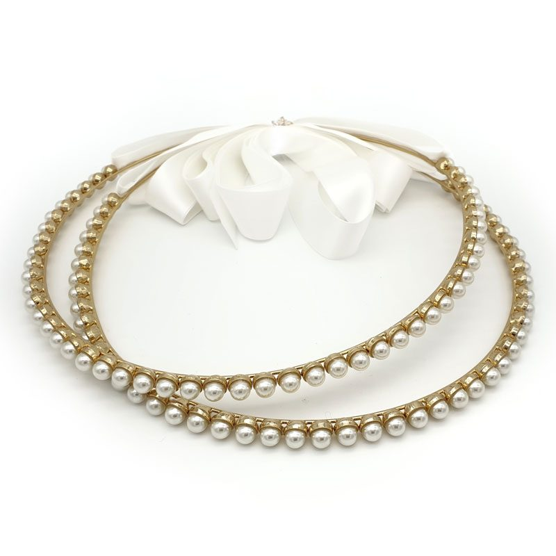 Gold pearl Greek wedding crowns