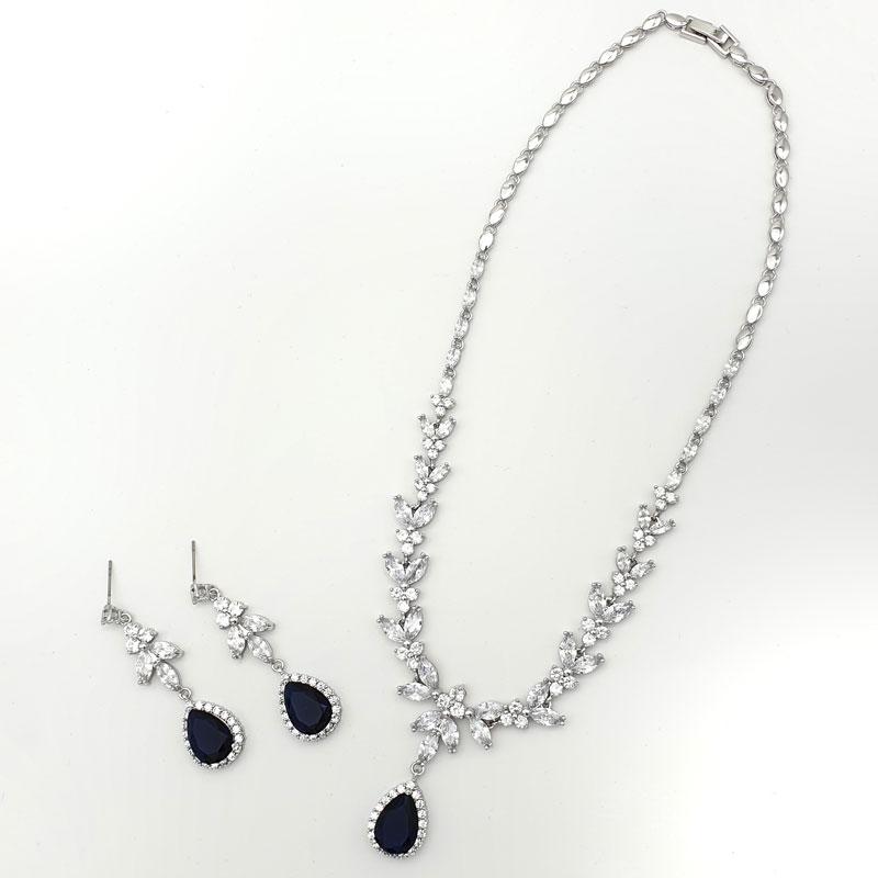 Navy bridal necklace set