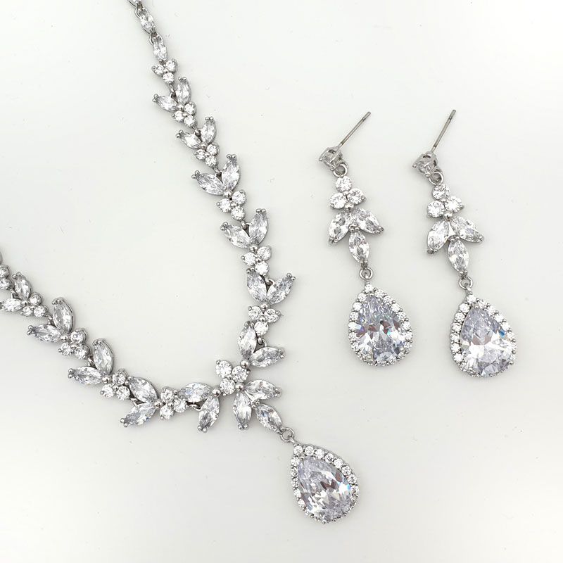 silver bridal necklace set