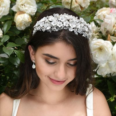wide floral bridal headband