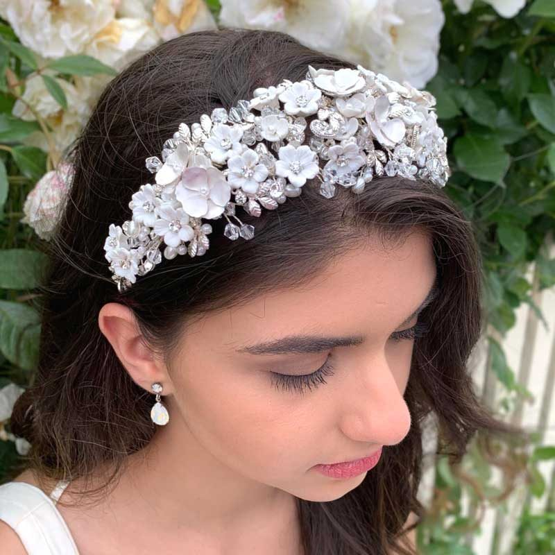 wide floral bridal headband