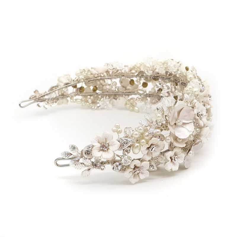 floral pearl and crystal wide bridal headband