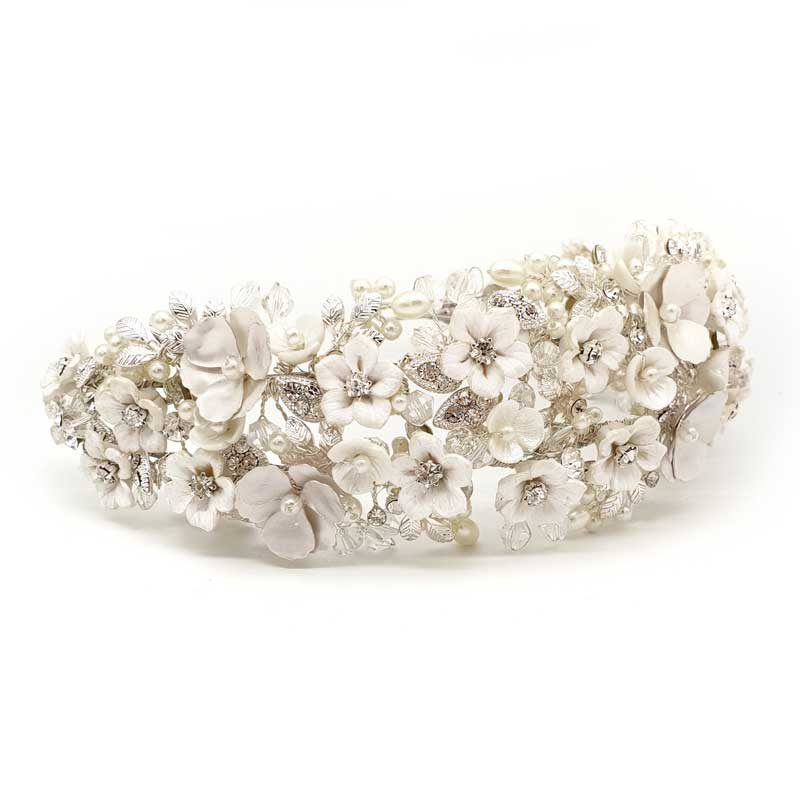floral wide bridal headband
