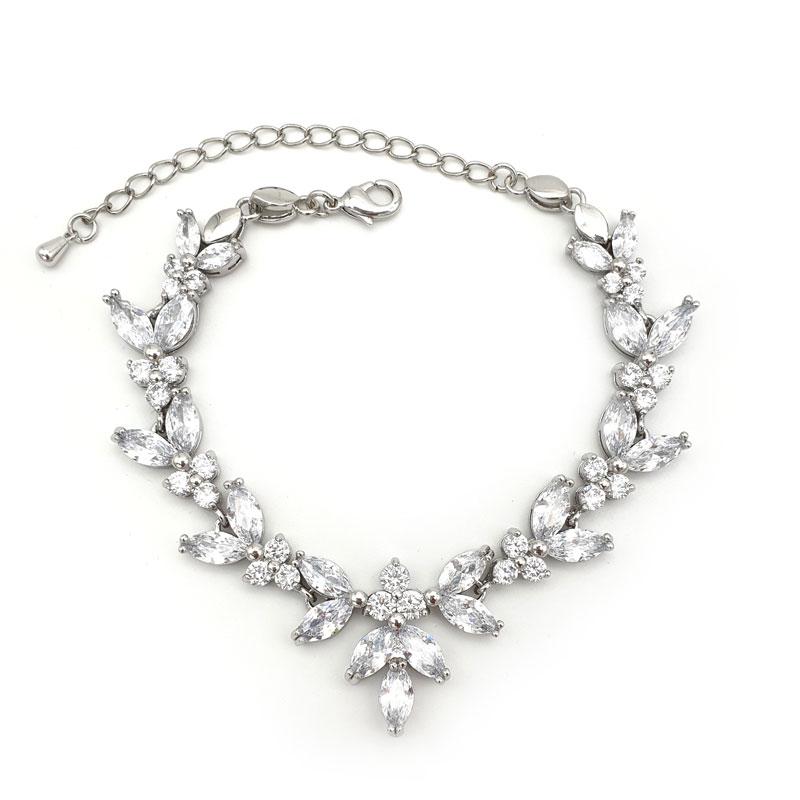 silver cz bridal bracelet