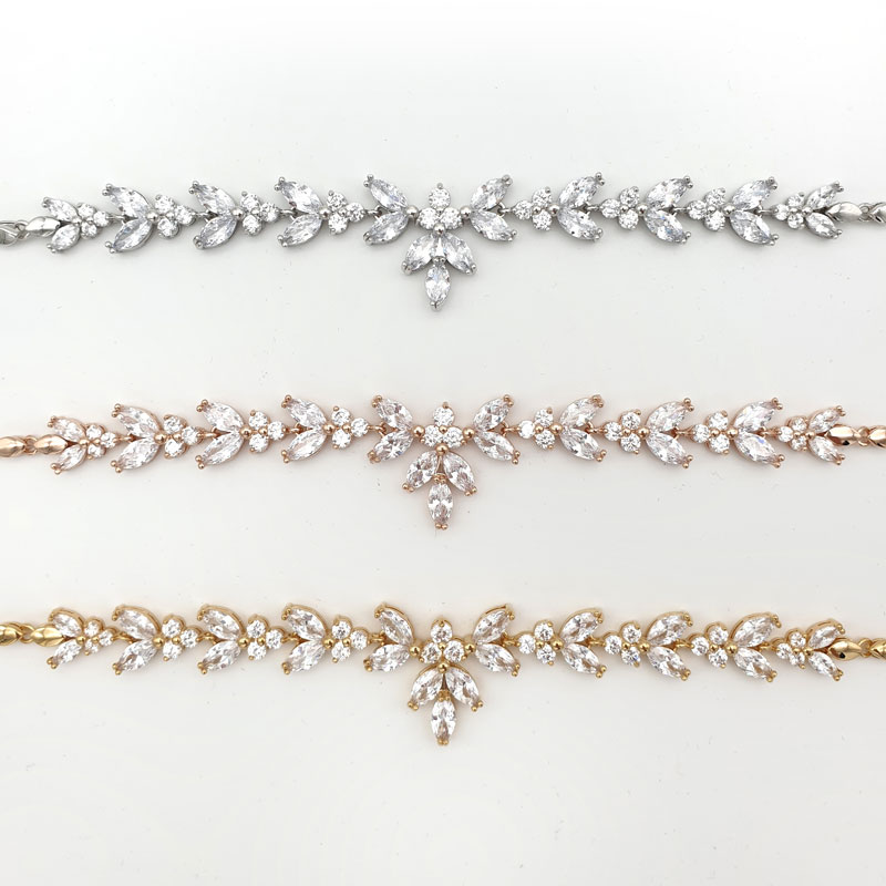 Silver, gold and rose gold bridal bracelet