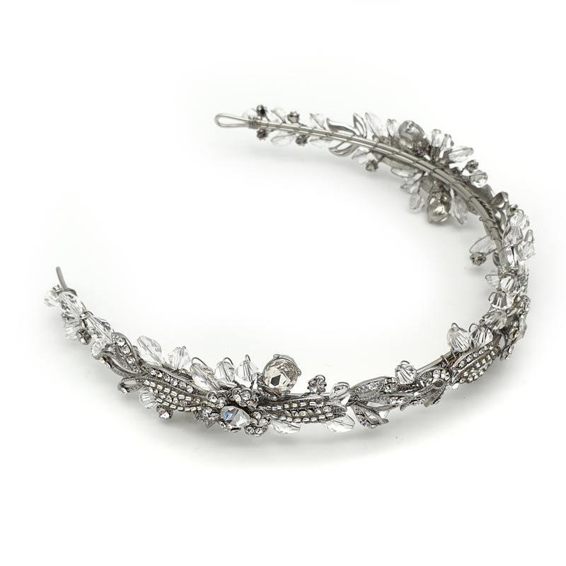 Rhodium silver floral headband