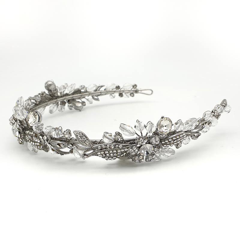 Silver floral bridal headband