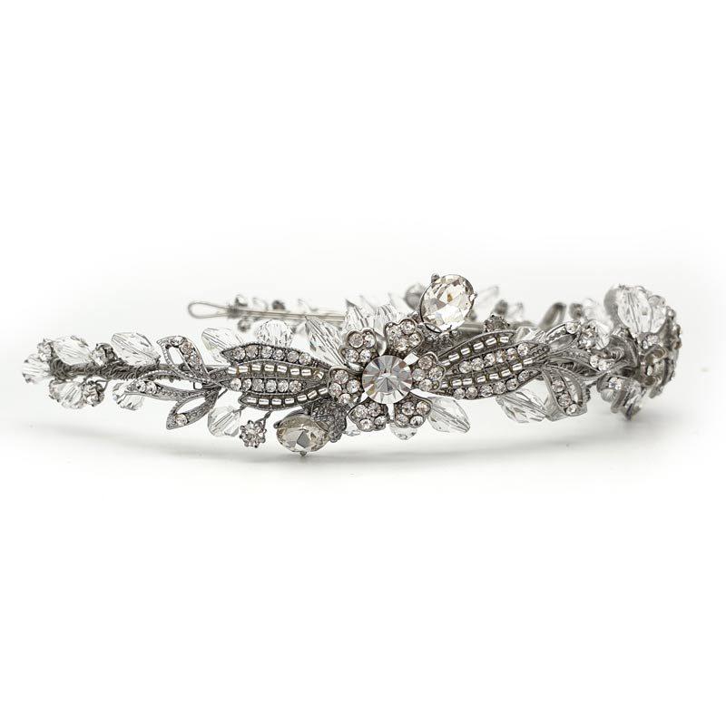 Silver floral headband