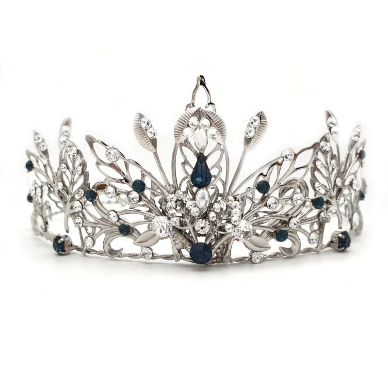 Silver and blue bridal tiara