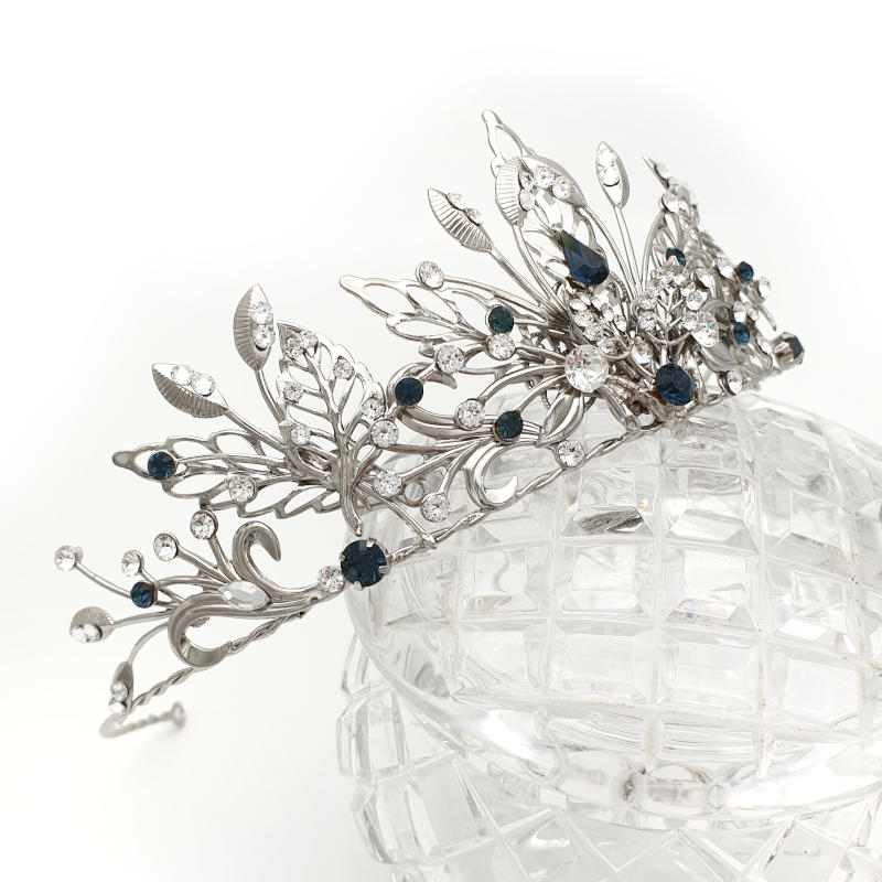Silver blue crystal tiara