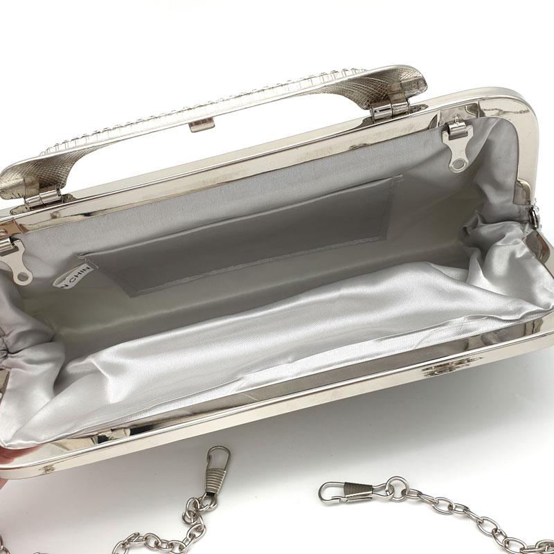 silver bridal diamante clutch