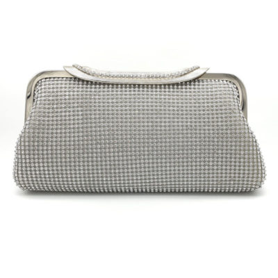Silver diamonte bridal clutch