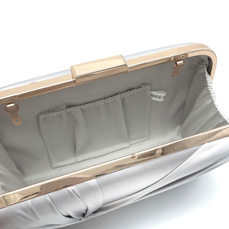 Silver satin clutch