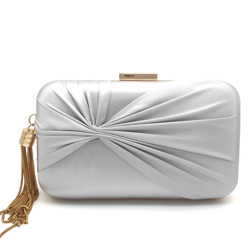 Silver satin bridal clutch