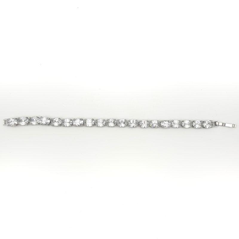 Silver oval Bridal bracelet