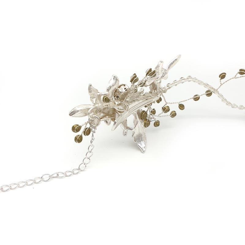 silver leaf bridal hair vine