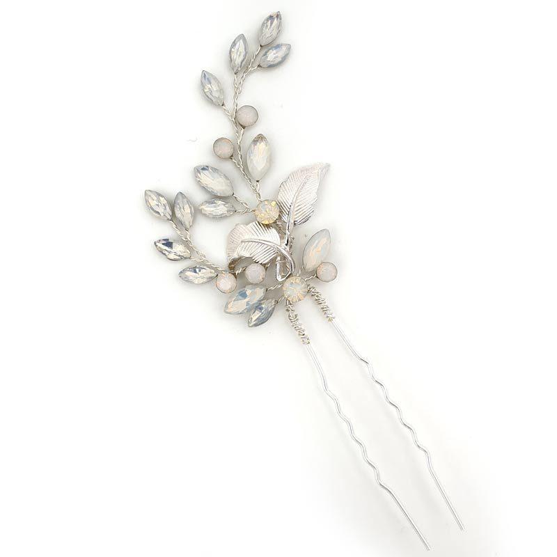 Silver opal hair pin