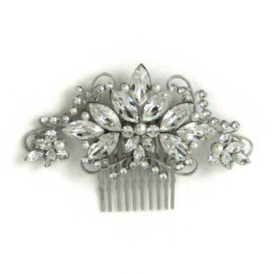 swarovski crystal and pearl hair comb