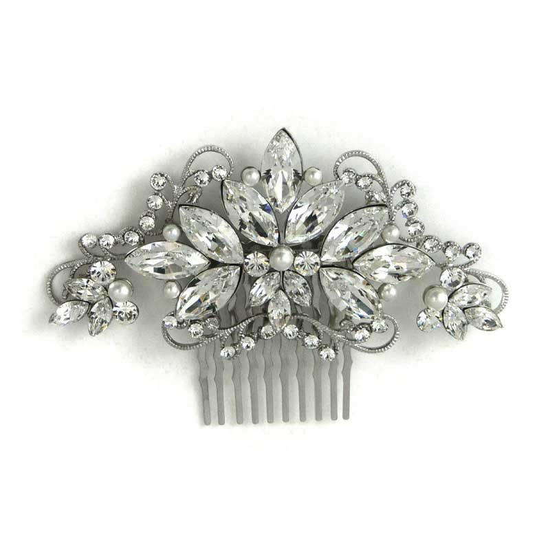 swarovski crystal and pearl hair comb