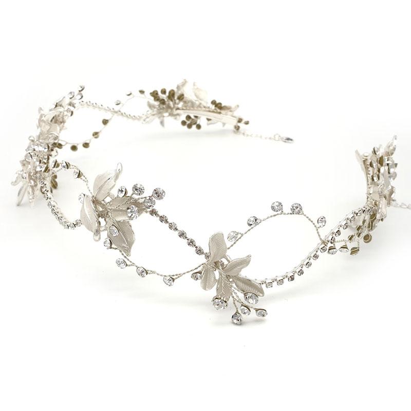Halo silver bridal hair vine