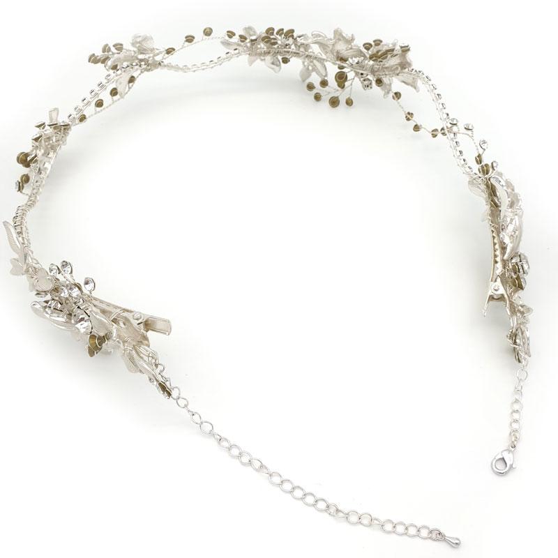 Silver bridal leaf halo