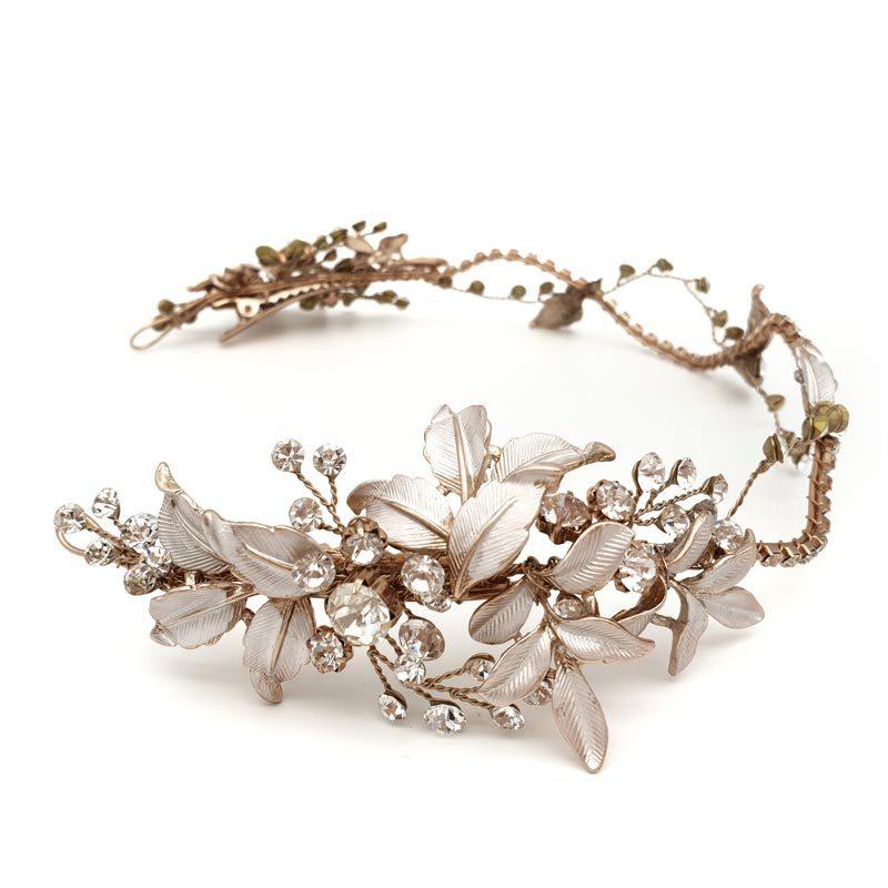 rose gold leafy hair vine