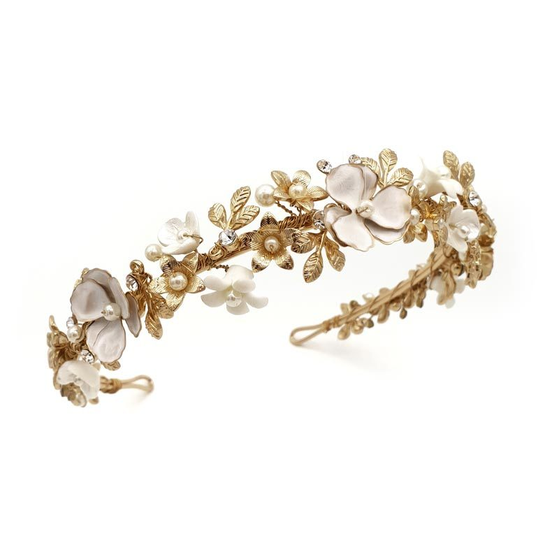 gold floral and pearl headband