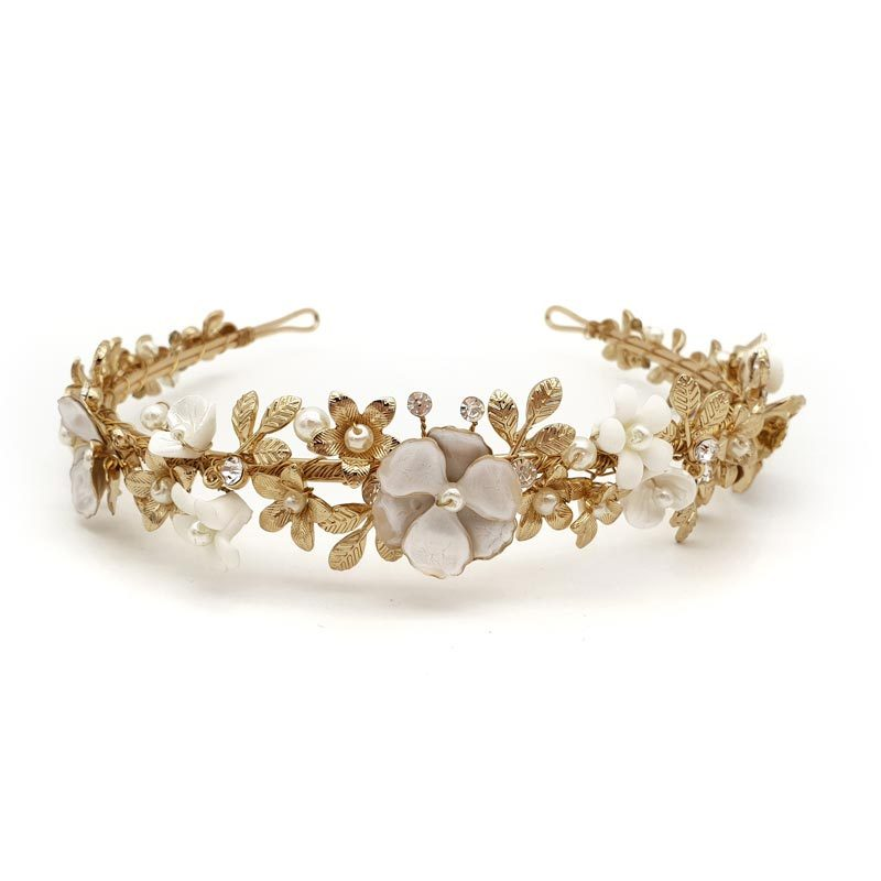 gold floral pearl bridal headband