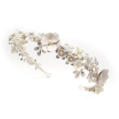 silver floral pearl headband